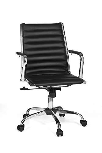 FineBuy Bürostuhl Genua 2 Bezug Schwarz Kunst-Leder Design Schreibtischstuhl höhenverstellbar X-XL 110 kg Chefsessel ergonomisch Drehstuhl mit Armlehnen Rücken-Lehne Wippfunktion verstellbar Schalensitz