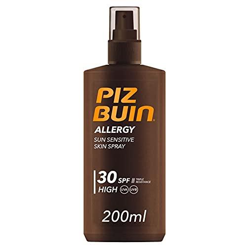 PIZ BUIN, Crema solare sensibile Spray per la pelle, Allergy, 30 SPF, Protezione Solare Alta, Assorbimento Rapido, Resistente ad Acqua Sudore e Cloro, 200ml