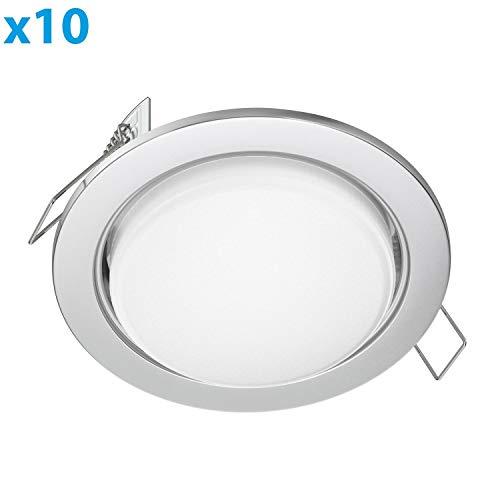 ledscom.de LED Einbauring Zobe flach GX53 chrom matt rund 6.3W=40W 450lm warm-weiß 107mm Ø Lochkreis 90mm Ø, 10 Stk.