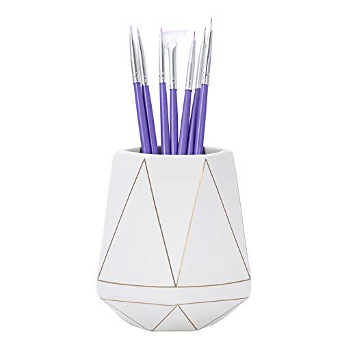 Pen Holder for Desk - Makeup Brush Holder Ceramic Pen Holder for Office Desk, Pencil Cup for Kids Women, Polyhedron Golden Stripe, Gift for Home, Office, School(White)