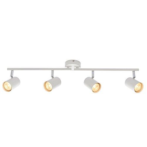 Arezzo Modern 4 Way Decorative Matt White Finish GU10 LED Compatible Adjustable Dimmable Ceiling Spotlight Bar Track Lighting