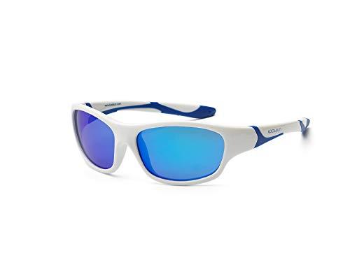 koolsun Niños Gafas de sol Sport 6–10años, White & Blue + Blue REVO Lente | 100% protección UV | Optical Clas 1, cat. 3