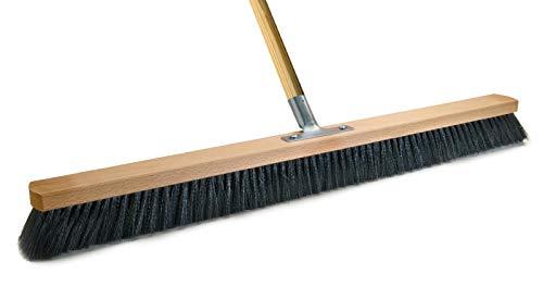 BawiTec Profi Saalbesen Großraumbesen Haarmischung mit Stiel schwarz-weich (Breite 100cm / Stiel 160cm)