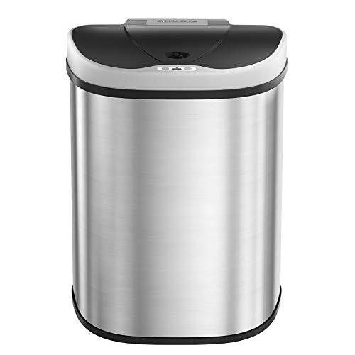 SONGMICS 70L Mülleimer mit Sensor, automatischer Abfalleimer, 2 x 35L Mülltrennsystem, Abfallbehälter mit 2 Fächern, berührungslos, für die Küche, silbern LTB93NL