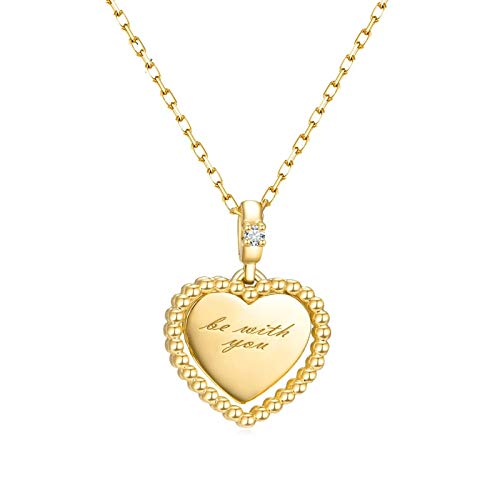 KnBob 18K Yellow Gold Be with You Heart Shape White Round Diamond Necklace for Women Pendant Necklace 18 Inch