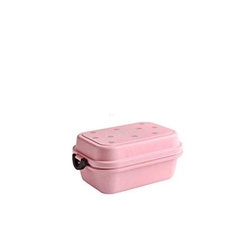 Fiambrera Hogar portátil cuadrada de la forma concisa de doble capa de plástico Mano Microondas Held Fiambrera (Color : B)