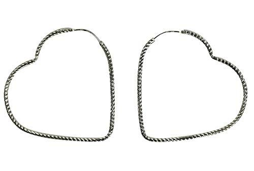 SILBERMOOS Damen Creolen Herz herzförmig groß glänzend diamantiert 925 Sterling Silber Ohrringe