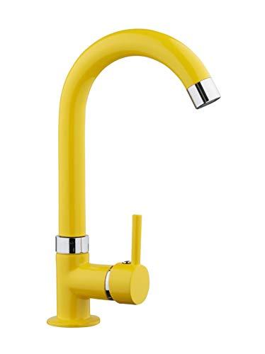 RONDO - Grifo de agua fría para lavabo, grifo de cocina, latón amarillo