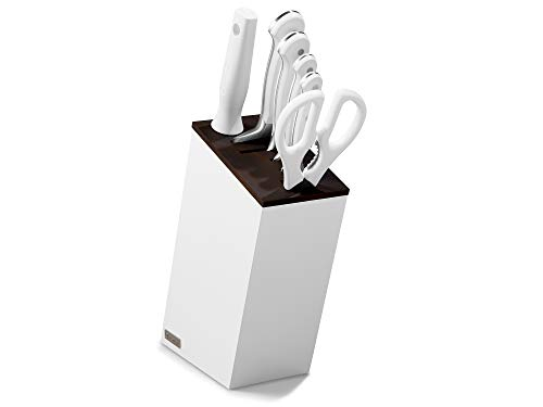Wüsthof 1090270601 Classic White - Bloque de cuchillos (6 piezas, cuerpo blanco con pieza de madera de haya térmica, juego de 4 cuchillos de cocina, afilador de acero, tijeras)