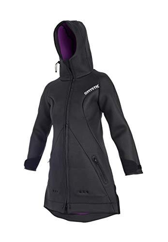 Mystic Watersports - Surf Kitesurf & Windsurfing Womens Battle Coat Jacke Mantel Schwarz. Wasserdicht - Kapuze mit Stehkragen