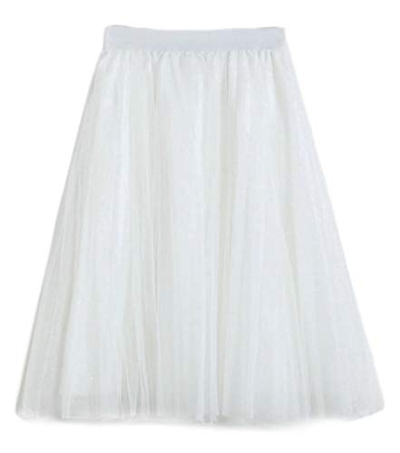 Damen Tüllrock Langer Mesh Rock Flare Tüll Tütü Midi Röcke, Weiß
