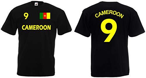 Fruit of The Loom Kamerun Herren T-Shirt Cameroon Trikot beidseitig Bedruckt