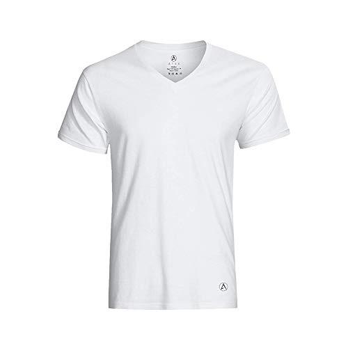 ATEK Men's Stay Tucked Cooling Undershirt   Moisture Wicking Sweatproof Breathable V Neck T Shirt   White (1 Pack), Extra Long, Medium