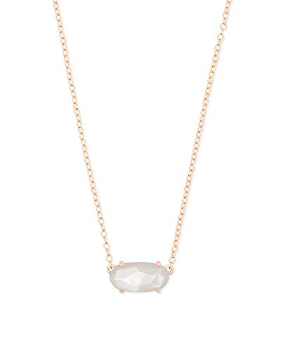 Kendra Scott Ever Pendant Necklace in White Mother-of-Pearl, 14k Rose Gold-Plated