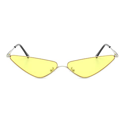 WHSS gafas de sol Europa y América Triángulo Pequeña Frontera Gafas de sol Personalidad Plata Medio Marco Ojo de Gato Protección UV400 Unisex Candy Color Lens (Color: Amarillo)