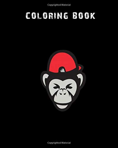 Coloring Book: chimpanzee head baseball cap retro - 59 pages - 8 x 10 inches