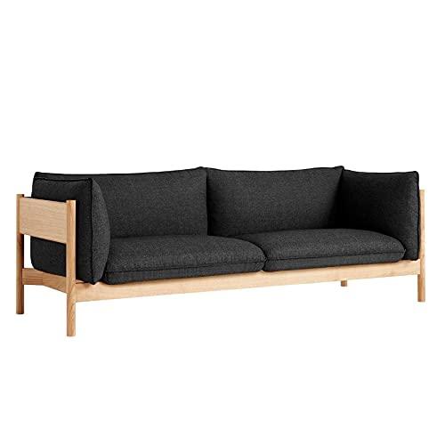HAY Arbour Eco 3-Sitzer Sofa, anthrazit Stoff Re-Wool 198 Gestell Eiche massiv geölt und gewachst LxBxH 220x87x75cm