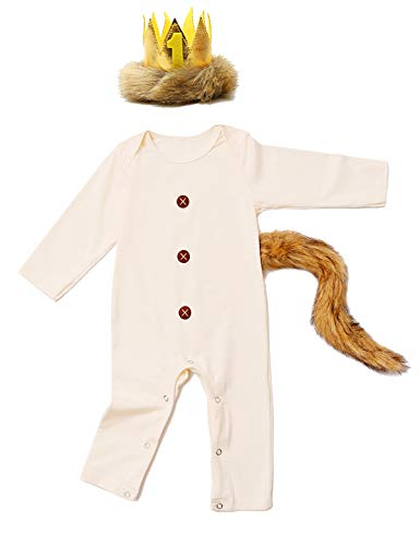 Baby Boys Halloween Outfit Where The Wild Things Are Romper with Crown and Tail (Beige-02,18-24 Months)