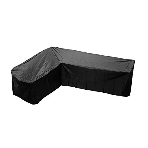 Trintion L-Shaped Garden Furniture Cover Waterproof Bench Protector Corner Sofa Cover 215x215x87cm Black