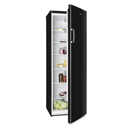 Klarstein Bigboy - Kühlschrank, Standkühlschrank, 335L Fassungsvermögen, 175cm hoch, 60cm breit, Gemüsefach, 11 Einhängungen, wechselbarer Türanschlag, Elegante Optik, freistehend, schwarz