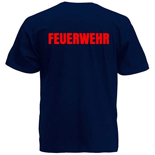 Shirt-Panda Herren Feuerwehr T-Shirt · Druck Brust & Rücken · Feuerwehrmann Tshirt Bedruckt · 112 · Shirt für Feuerwehrleute · 100% Baumwolle · Unisex · Dunkelblau (Druck Rot) L