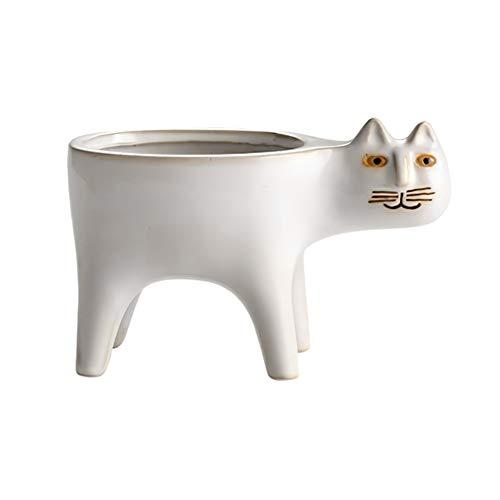 Apofly Maceta de cerámica para gatos con forma de animal, tamaño pequeño, 9 x 15 cm, color blanco
