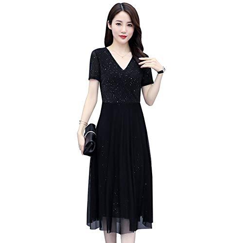 RDD-Dress Damen Kurzarm V-Ausschnitt Maxikleid Sommer Strandparty Hochzeitskleid (Size : 3XL)