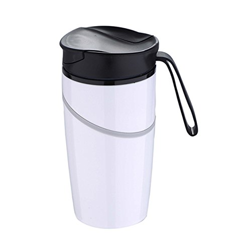 Bergner BG-5969 Thermobecher 350 ml Coffee to Go Reisebecher (Isolierbecher, Trinkbecher, Weiß)