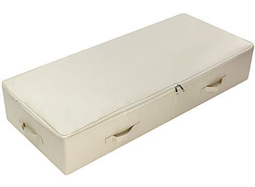 AMX Ultra Large Unterbett Aufbewahrungsbox mit Deckel, Klappdesign mit 6 Griffen, Beige