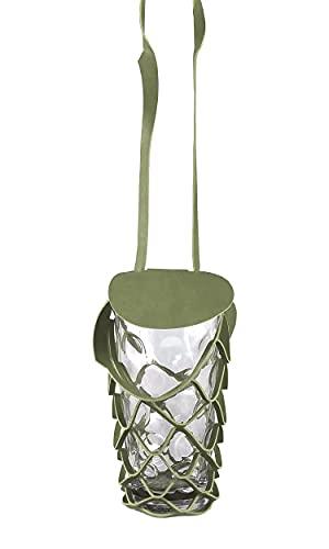 VINSTRIP® DUBBEGLAS - Porta bicchieri da birra da appendere con paraspruzzi e porta bottiglie di birra a tracolla, colore: Oliva