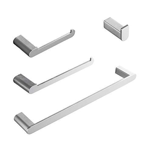 Wopeite Portasciugamani Set di Accessori da Bagno 4 Pezzi Alluminio Porta Carta Igienica Porta Salviette 40CM Argento