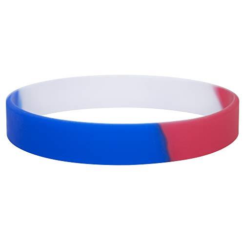 Gogo 24 PCS Pulsera de Silicona Azul Blanco Rojo, Pulseras Patriotas Bandas de...
