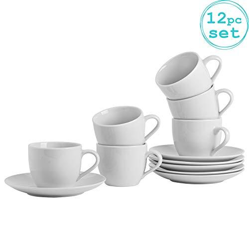Argon Tableware Ensemble de Tasses à Cappuccino avec soucoupes Assorties Blanches - 200 ML (7 oz) - Lot de 6