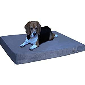 Dogbed4less Orthopedic Gel Memory Foam Dog Bed with Microsuede Gray Cover, Waterproof Liner and Extra Replacement Pet Bed Case, Fit Large 42″X28″ Crate