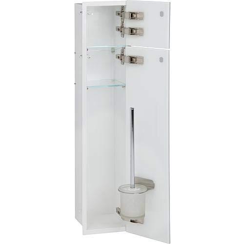WC Wandcontainer weiß 2x Glastür rechts WC Einbauschrank Unterputz WC-Bürste Papierhalter