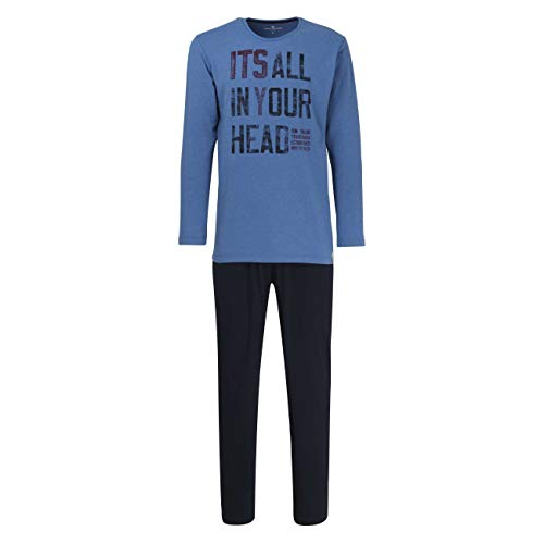 TOM TAILOR Herren Pyjama blau Melange 1er Pack 50