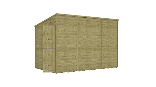 Project Timber 10 x 6 Pressure Treated Hobbyist Extra Tall Pent Windowless Garden Shed Doors in Gable with OSB Floor 3.04m x 1.82m
