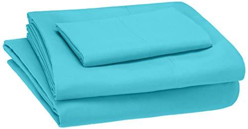 Amazon Basics Kids Sheet Set - Soft, Easy-Wash Lightweight Microfiber - Twin, Bright Aqua