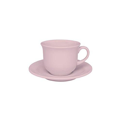1 Conjunto com 6 Xícaras de Chá com Pires 15 Cm Oxford Daily Floreal Milenial Rosa 200 Ml