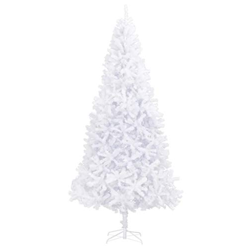 Cikonielf Christmas Trees, 10ft Slim Christmas Tree with 2180 Tips, Artificial Christmas Trees with Steel Stand for Indoor Use, 300 cm, White