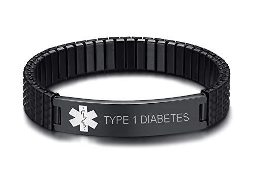 MEALGUET Type 1 Diabetes Stainless Steel Black Medical Alert ID Stretch Allergy Medical Bracelet for Men Women