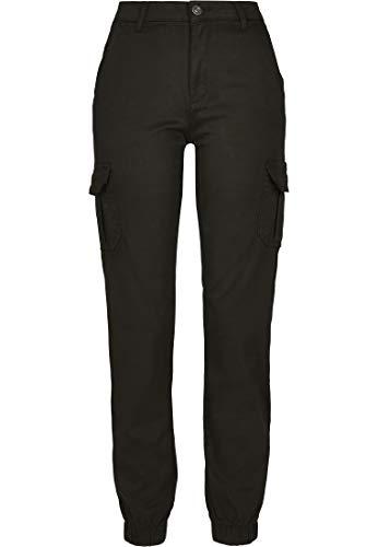 Urban Classics Damen Ladies High Waist Cargo Pants Hose, Black, 30W