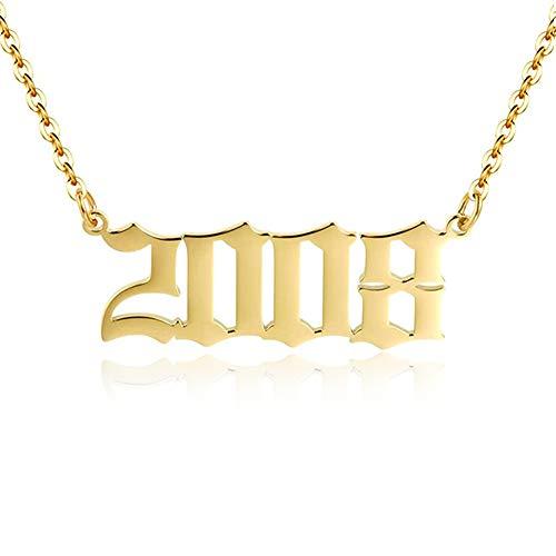 BMMYE Collar de año de Nacimiento 1990-2010 Oro Plata Acero Inoxidable Colgante de número Collar Mujer Regalo de cumpleaños