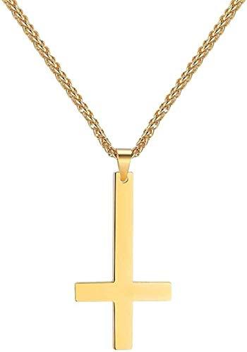 Ahuyongqing Co.,ltd Collar de Cadena de Oro con Cruz de San Pedro al revés, joyería católica, Colgante de Cruz Invertida