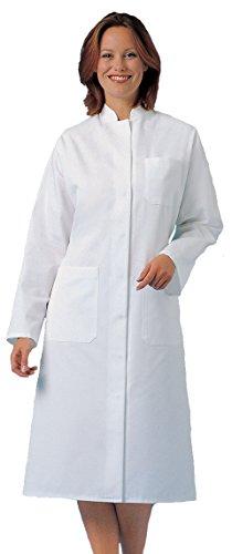 clinicfashion 11314002 Damen Visitenmantel Mantel weiß, Stehkragen, Mischgewebe, Größe 42