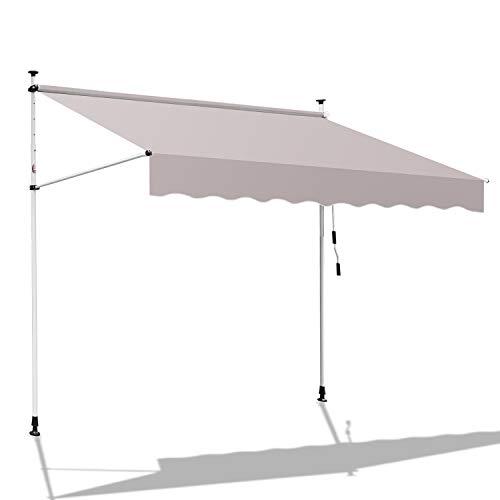 BMOT Klemmmarkise Balkon,150 x 120 cm Markise Balkonmarkise Sonnenschutz ohne Bohren, mit Handkurbel, UV-beständig höhenverstellbar, aus Metall und Polyester, Beige