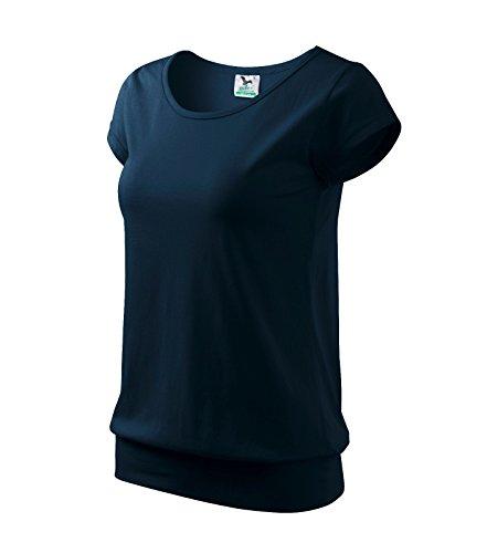 T-Shirt Shirt für Damen 100% Baumwolle (L, Marineblau)