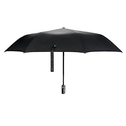[Ombrello Pieghevole] E-PRANCE Ombrello Antivento, Ombrello Classic da viaggio di alta qualità e resistenza - 8 stecche rinforzate- Tessuto nero