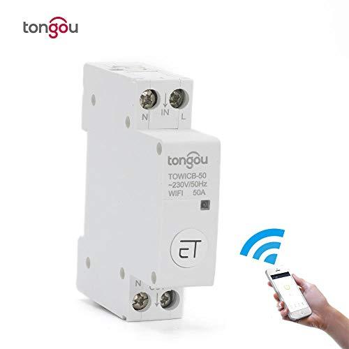 WiFi-Leistungsschalter-Fernbedienung von eWeLink APP Sprachsteuerung mit Amazon Alexa Google Home 18-mm-Din-Rail-Hauptschalter TONGOU-50A
