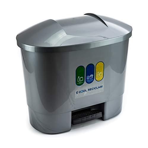 Bittamina Cubo de Basura 50 litros con 3 Compartimentos para Reciclaje Color...